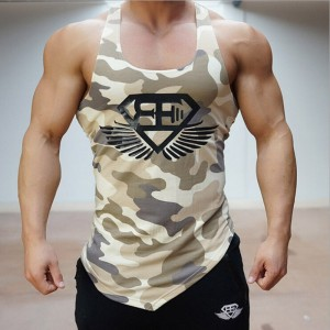 2016 arrived at the stadium shark tank top men's Fitness Aerobics shirt T-shirt camouflage vest