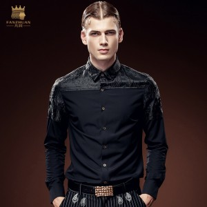 free shipping new men's male fashion casual Youth Party dark jacquard long sleeved stitching slim black shirt 612118 FanZhuan