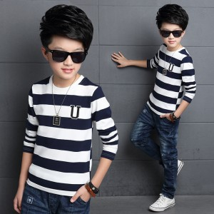 Boys T-Shirts Long Sleeve Striped Tees Shirts For Boys Clothes Cotton School Kids Tops Autumn Children Clothing 4 6 8 10 12 14Y