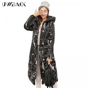 Uwback 2017 New Winter Jacket Women Large Size 4XL X-Long Print Thick Hood Duck Parkas Mujer Warm Slim Winter Coat Woman TB1189