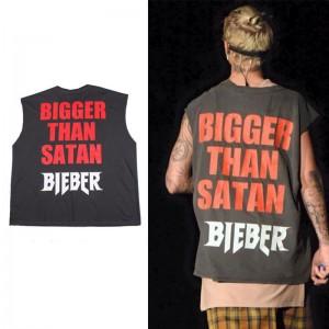 Men's fashion T-shirt  JUSTIN BIEBER Concert tour commemorative edition T-shirt vest Men and women loose vest