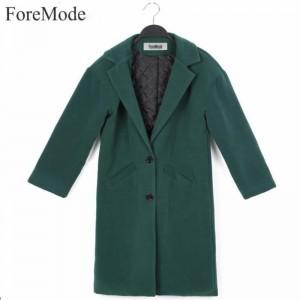 2016 Autumn Winters Woolen Coat Dust Coat Solid Long Sleeve Overcoat Trench Coat Winter Coat Women Black Wool Overcoat