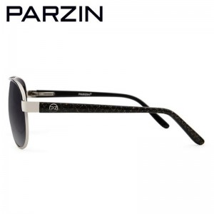 Parzin Polarized Sunglasses Men Colorful Vintage Pilot  Sun Glasses Male Retro Driving Glasses Shades With Case Black 8012