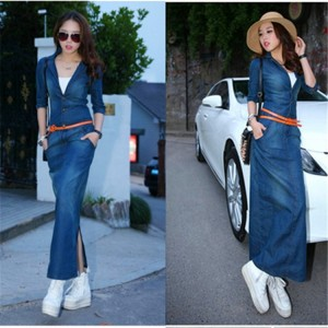 New 2017 Summer Autumn Fashion Elegant Jeans Dress Women Casual Long Sleeve denim Long Dress Fashion woman Clothing JJ025