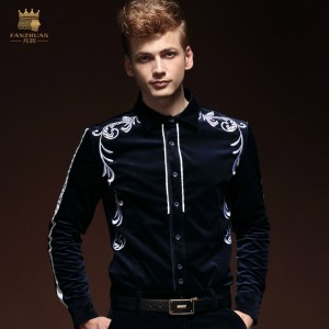 FanZhuan Free Shipping New men's fashion casual male long sleeved winter Shirts grass grain embroidered shirt 14267 personality