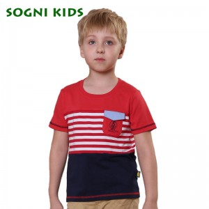 SOGNI KIDS Short Sleeve T shirts for baby boys tops Stripe Patchwork O Neck cotton Football clothing kids boys T shirts