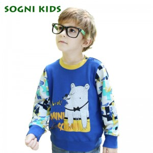 SOGNI KIDS Print Cartoon T shirts 2016 Christmas Splice Colors Clothes For Children Long Sleeves Round Neck Fashion Boy T-shirts