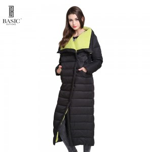 Basic Vogue Women Winter Extra Long Single Breasted Casual Puff Down Parka Jacket - Y16010
