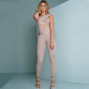 2017 Summer Women Jumpsuit Bandage Black Cross Halter Sleeveless Full Length Celebrity Trendy Bodycon Bodysuit Women Wholesale