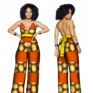 BRW African Fashion Clothing Jumpsuit for Women African Wax Print Pant Sets Bazin Riche Plus Size 6xl Trendy Jumpsuit Romper WYD4