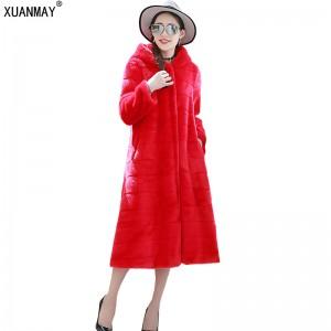 Winter new women imitation Fur Coat high imitation Rex Rabbit Fur coat large size S-6XL imitation fur long warm female coat