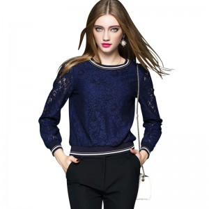 Lace Basic Shirt Female Long-Sleeve Spring 2017 Women's Hollow T-Shirt Oversize Pullovers Tops girl Tees