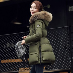 RC'S SECRET Down Coat  Korean Winter New Slim Thick Warm Fur Collar Long Section of Female Cotton for Women Jacket Plus Size