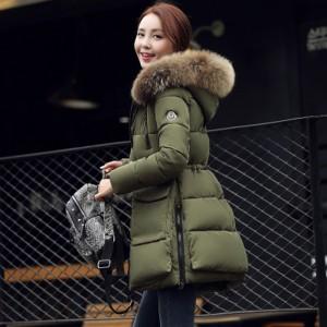 RC'S SECRET Down Coat  Korean Winter New Slim Thick Warm Fur Collar Long Section of Female Cotton for Women Jacket Plus Size