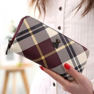 Brand Women's Clutch Wallet Long Section Zipper Wallet  Hand Bag Lattice Wallet Female Long Paragraph Bear Wallet Women's Purse