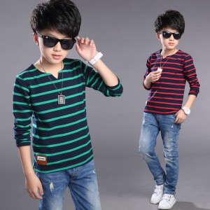 Boys Stripe T-Shirts Cotton Children Blouses Long Sleeve T-Shirts For Boys Tees 2017 Spring School Kids Tops 4 6 8 9 10 12 Years