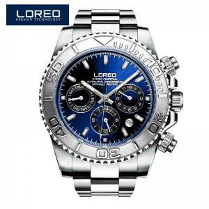 LOREO shark series blue diamond coated mirror back-side hollow automatic mechanical waterproof simple fashion men's watch