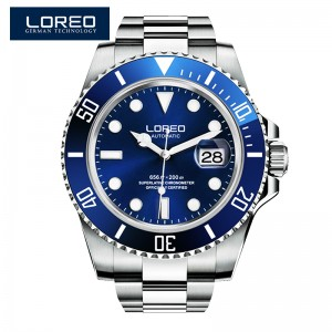 LOREO Germany watches men luxury brand automatic self-wind luminous waterproof 200M oyster perpetual Pro Diver Stainless Steel