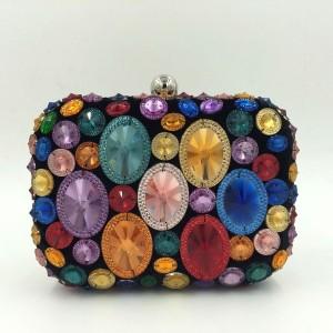 Women's Vintage Bridal Crystal Glitter Evening Bag Clutch Handbag Purse Satchel