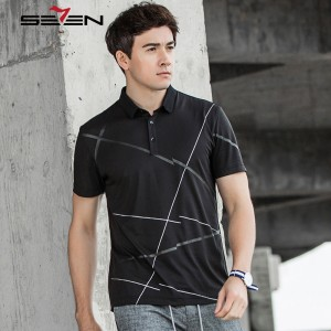Seven7 Brand Men Summer Polo Shirts  Casual Short Sleeve Geometric New Polo Shirts Classic Fashion Slim Polo Shirts 112T58160