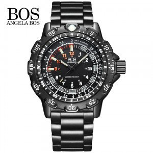 ANGELA BOS Military Super Luminous Watch Men Multifunction Rotary Dial Compass Army Alloy Silicone Luxury Watch Men Famous Brand