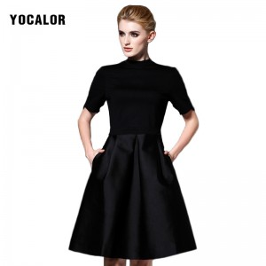 YOCALOR Brand Solid Black A-line Short Office Collar Dress For Spring Formal Elegant Women Party Dresses Vintage Prom Casual