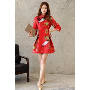 Free Shipping Cheongsam Qipao Dress Women's Crane Embroidery A-line Tunic Cocktail Party Prom Short Dress