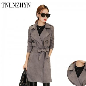TNLNZHYN 2017 Quality Spring Coat New Women Trench Coat British Temperament Suits Suede Overcoats Women Fashion Trenchcoats AL64