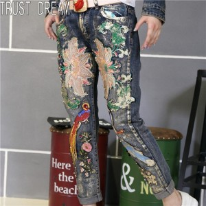 TRUST DREAM Autumn Winter Real Pictures European Style Slim Embroidery Jeans Beading Birds Flower Coating Skinny Female Jeans