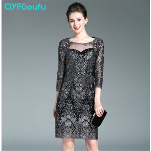 Women's Bodycon Mini Dresses Summer Style High Quality Embroidered Black Sheath Mini Dress 3/4 Sleeves Party Short Dress Casual