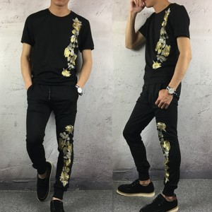 2017 New T1 Summer Set men embroidery flowers leisure mercerized cotton short sleeve T-shirt  S-3XL Black