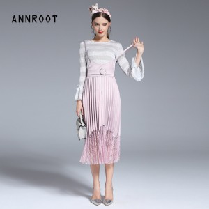 ANNROOT Women Suit 2017 New Arrival Spring Summer Fashion Suits for Women o-neck Striped Top+Pink Skirt Noble Suit Female