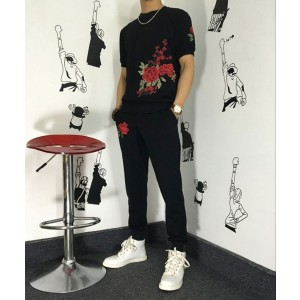 Wonderful New SET Short Tshirts/ pants 2017 Embroidery NECK Cotton Quality N6
