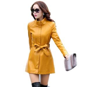 Women Leather Jacket Sheepskin Coats Top Fashion New Plus Size 5XL Slim Ladies Long Leather Jacket Trench Coat Female Outwear