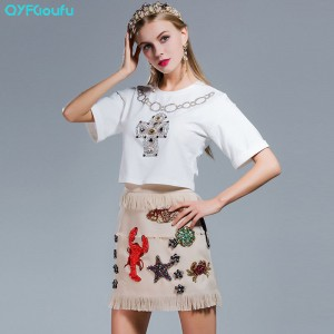 high quality 2 piece outfits for women tops shirt Short sleeves + Beaded trendy runway skirts womens 2017
