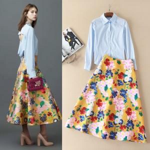 United States women's spring/summer 2017 short skirt outfit trendy backless long-sleeved shirt + full-skirted dress suit