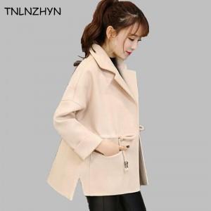 TNLNZHYN 2017 New Spring Women Coats Fashion Turn Down Collar Elegant Wool Jackets Loose Short Style Slim Female Overcoats AL104