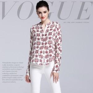 Women's T Shirt Silk 2017 Spring Summer Fashion Printed V-Neck Long Sleeved Elegant Loose T-Shirts Tops Female