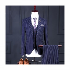 (jacket+pants+vest) New fashion male singer men suit spring autumn stripe casual slim fit prom groom party wedding suit