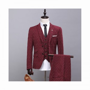 (jacket+pants+vest) New fashion male singer men red suit spring autumn casual slim fit prom groom business party wedding suit