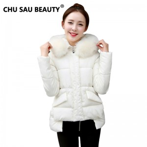 2017New Winter Cotton Jacket Coat For Female Thick Fur Collar Coat Long 1950s Thick Warm Down Overcoat Parka Womens Clothing