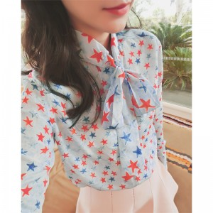 bow tie blouse shirt printed star blusas 2017 spring new women long sleeve oversized runway blouse shirt high quality