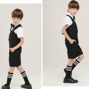 Good quality Baby boy Gents dress suit,short +vest + shirt +bow, wedding 4 pieces a set,Boys summer Suit Set,Children Clothes