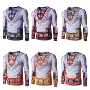 2017 new fashion men 3D printing long-sleeved round neck T-shirt