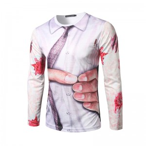 2017 new fashion men's 3D three-dimensional printing round neck T-shirt