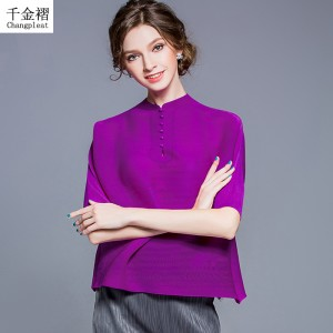 T-shirts for women high fashion  pleated Women's T-Shirt retro loose bat sleeve casual T-shirts top Solid Plus Size T89798