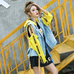 RosEvans Fashion Women Patch Designs Hooded Jean Jacket Coat 2017 Spring Summer Jacket Female Casual Basic Demin Jacket B376