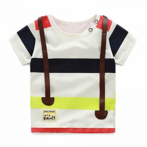 Casual Baby Infant Clothing Fashion Straps Toddlers Tops 2017 Summer New Style Baby Boys Shorts Sleeve Striped Kids T-Shirts