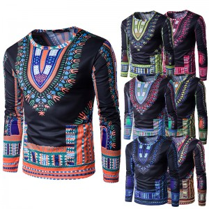 2017 new fashion men's national wind floral 3D three-dimensional printing round neck long sleeve T-shirt