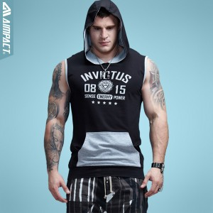 Aimpact Bodybuilding Sleeveless Hoodie Contrast Pocket Fitted Cotton Mens Tank Tops Brand Clothing Fashion Activewear 2017 New A